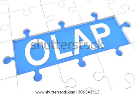 OLAP - Online Analytical Processing - puzzle 3d render illustration with word on blue background