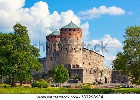 Olavinlinna castle in Finland. - stock photo
