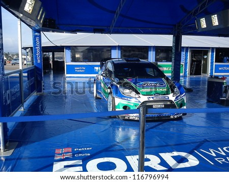 OLBIA SARDINIA, ITALY - OCTOBER 20: The Ford WRC (Solberg driver) world rally car at paddock of Rally D'Italia Sardegna on October 20, 2012 in Olbia Sardinia, Italy