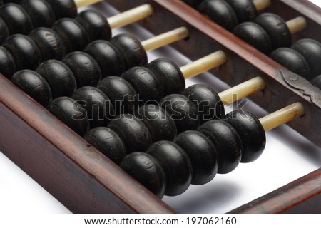 old abacus ancient classic close up isolated on white background - stock photo