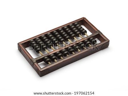 old abacus ancient classic isolated on white background - stock photo