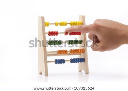 Old abacus isolate on white background - stock photo