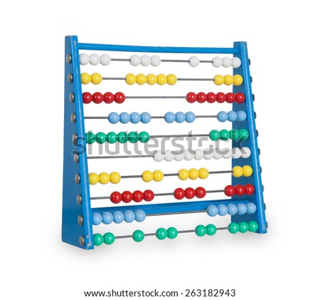 Old abacus isolated on a white background