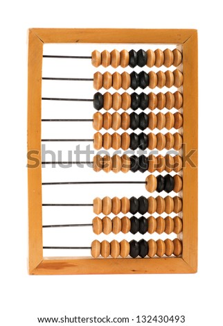 Old abacus isolated on white background