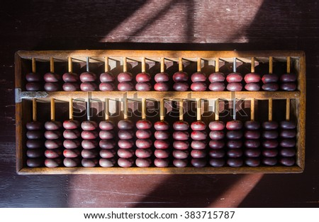 Old abacus on the table.