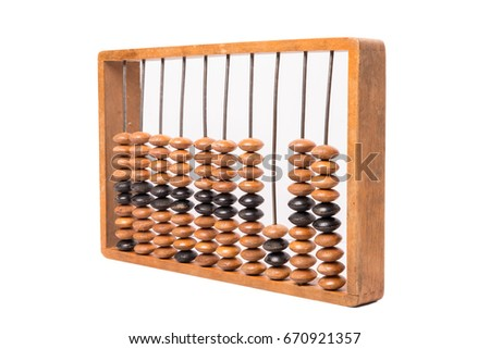 Old abacus on white background