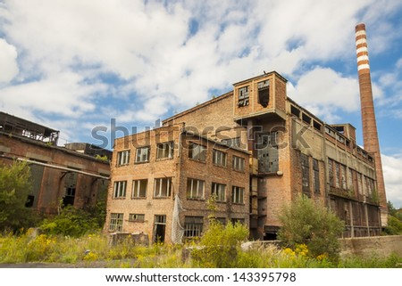 Old abandon building of paperworks in Kalety - Poland, Silesia province, Europe. - stock photo