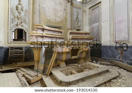 old abandoned altar - stock photo