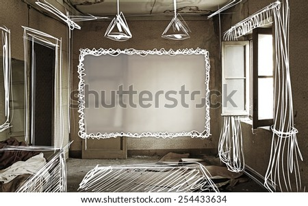 Old abandoned and ruined interiors with hand sketch decorations. Original illustrations. - stock photo
