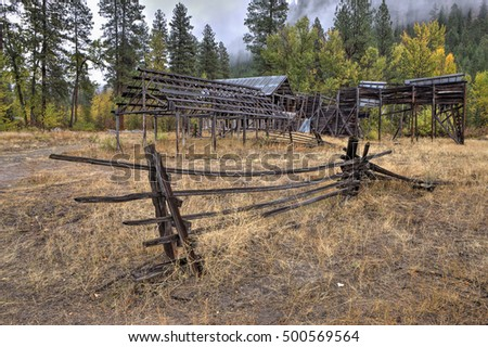Old abandoned barn and shed in Okanogan county in Washington near Winthrop.