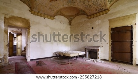 old abandoned bedroom - stock photo
