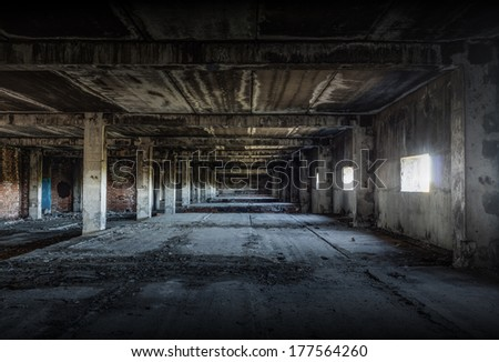 old abandoned building, urban background - stock photo