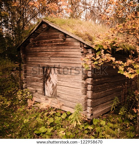 Old abandoned building with grass on the roof - stock photo
