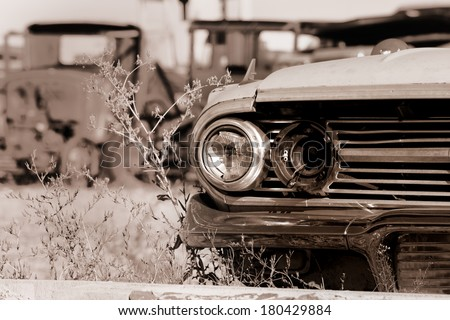 Old abandoned cars in the junk yard - stock photo