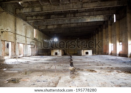 Old abandoned chemical Factory near Tomaszow, Poland - stock photo