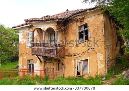 Old Abandoned Collapsing House - stock photo