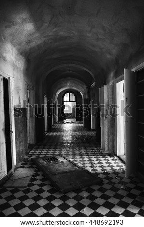 old architectural photography. Old Abandoned Corridor With Columns In Black And White Selenium Photo, Abstract Architectural Photography L