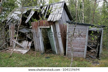 Old abandoned cottage  falling down - stock photo