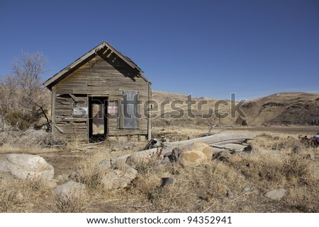 old abandoned dilapidated shack - stock photo