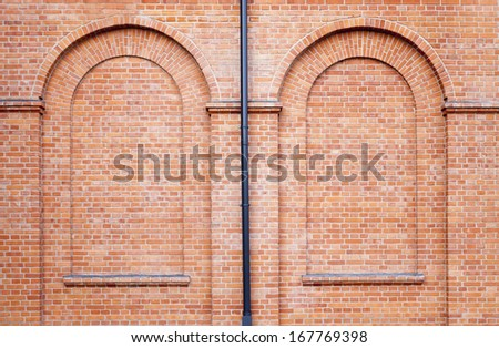 Old abandoned factory in Lodz - brick wall - stock photo