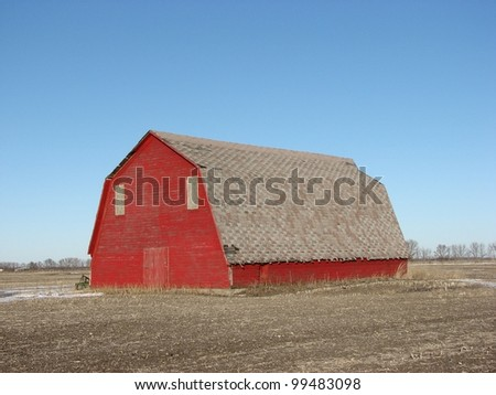 old abandoned farm building barn - stock photo