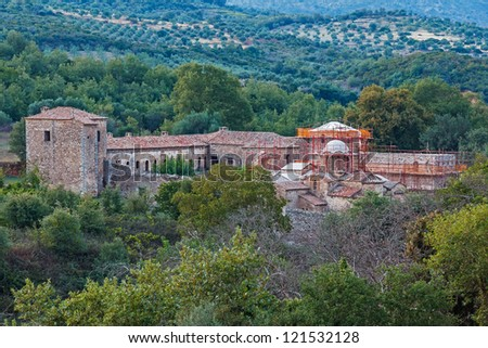 Old abandoned Greek-orthodox monastery in Greece in the dusk - stock photo