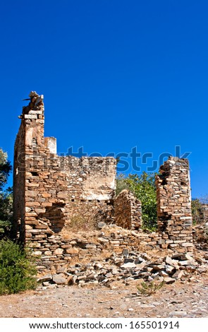Old abandoned Greek,Turkish village of Doganbey, Turkey, Aydin - stock photo