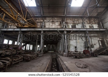 old abandoned hall in factory