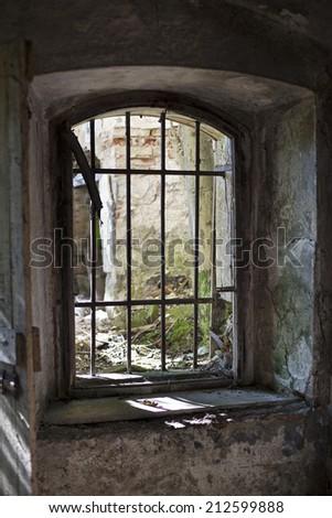 Old abandoned house dark vintage interior shoot - stock photo