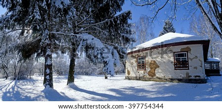 Old abandoned house in winter in a small village. Ukraine.  Previously it was a school.  - stock photo