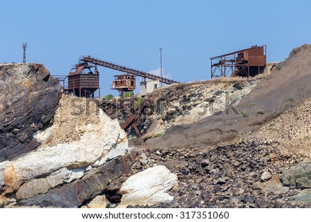 old abandoned iron mine on the island