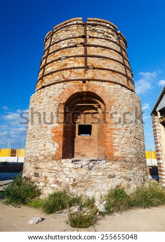 Old abandoned large vintage furnace ruins near Lavrio area in Greece - stock photo