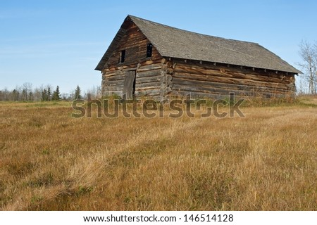 old abandoned log barn in fall  Surrounded by dry grass - stock photo