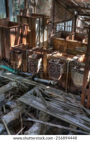 Old abandoned mining factory unit processing lead-zinc - stock photo