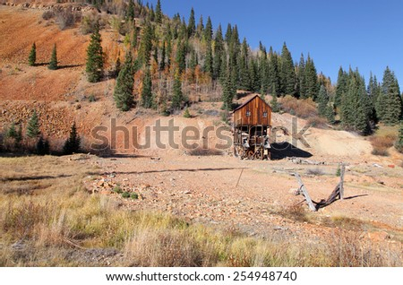 Old abandoned mining shaft in Colorado on Million dollar highway - stock photo