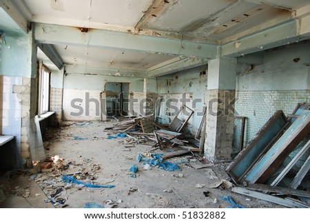 Old abandoned office in a state of destruction