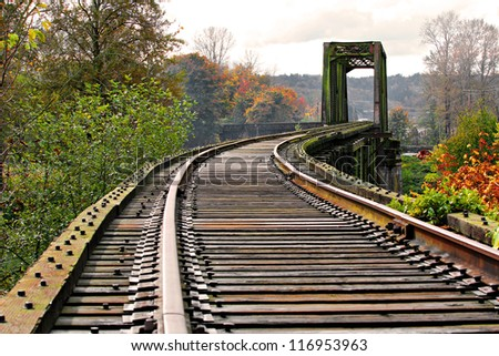 Old abandoned railway track and bridge