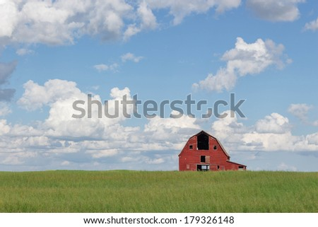 old abandoned red barn sitting in a field of green grass under a blue sky filled with white clouds - stock photo