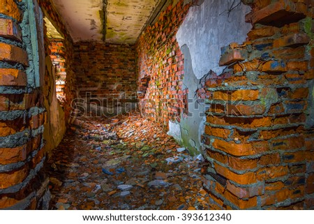 old abandoned red brick house ruin - stock photo