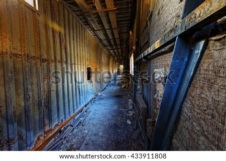 Old abandoned ruin factory damage building inside , hong kong - stock photo