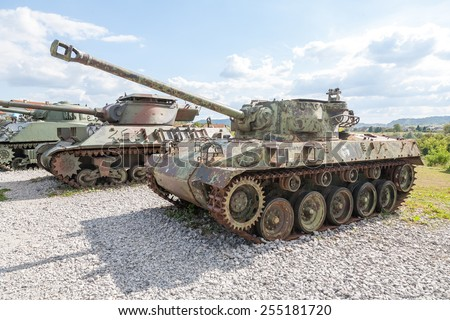 Old abandoned tank, after the war in Croatia - stock photo