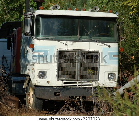 Old abandoned tractor trailer cab
