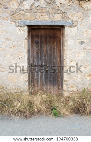 old abandoned wooden door in ancient wall