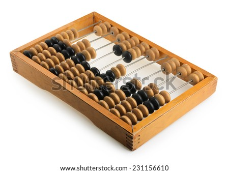 Old accounting wooden abacus isolated on white  - stock photo