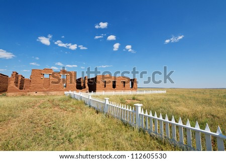 Old adobe building at Fort Union National Monument - stock photo