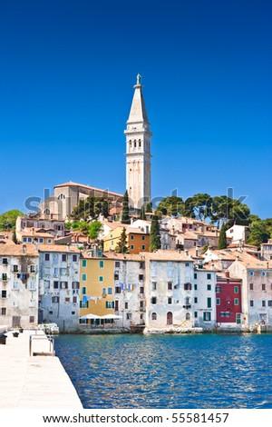 Old Adriatic town Rovinj. Croatian coast, Istria region, HDR image - stock photo