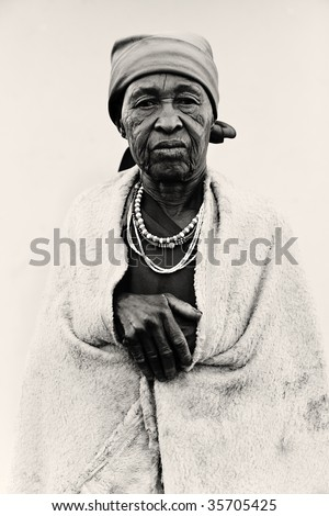 old African woman covered with a blanket ,lomo  black and white look