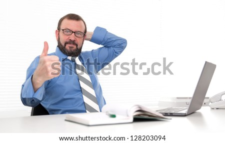 old aged business man showing his thumb up - stock photo