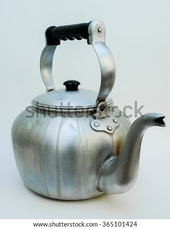 old aged classic kettle, isolated - stock photo