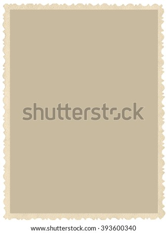 Old aged grunge edge sepia photo, blank empty vertical background, isolated yellow beige vintage photograph picture card border frame, retro postcard copy space, large detailed closeup - stock photo